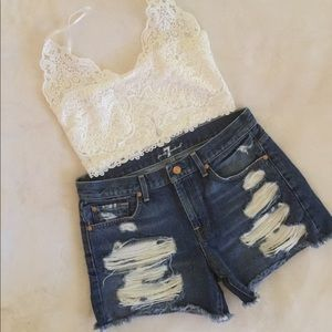 Hi Rise Destroyed Frayed Denim Shorts